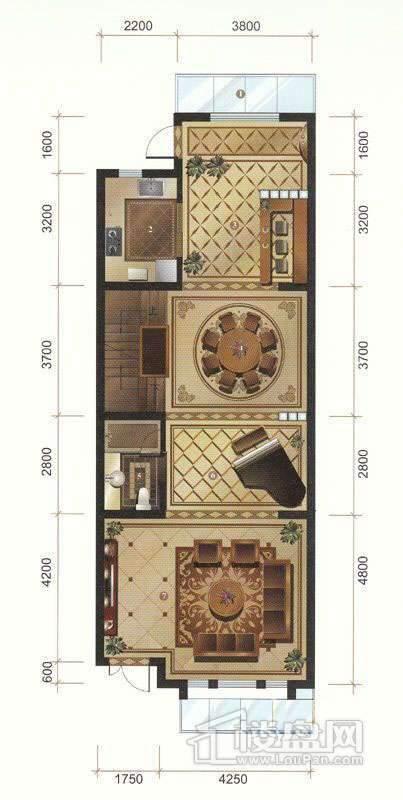 一期联排别墅C户型首层平面图