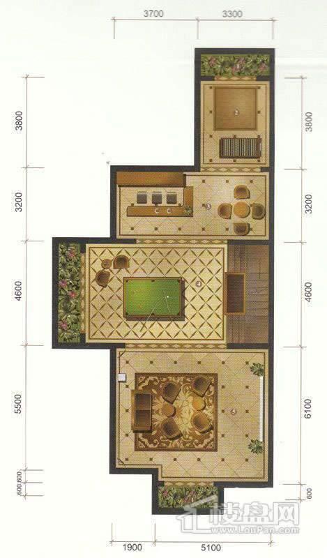一期联排别墅D户型地下室平面图