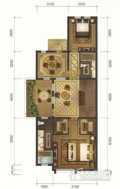 一期联排别墅D户型二层平面图