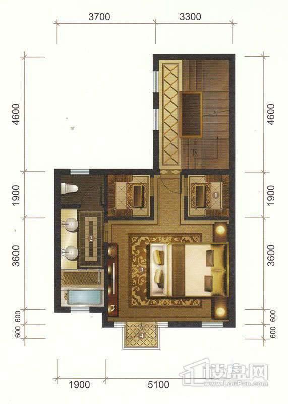 一期联排别墅D户型三层平面图