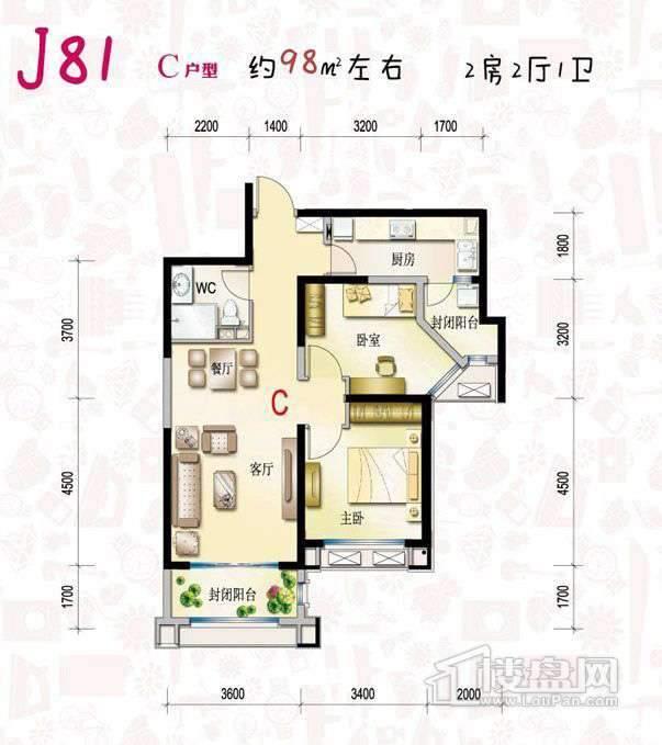 8090幸福高层J81标准层C户型