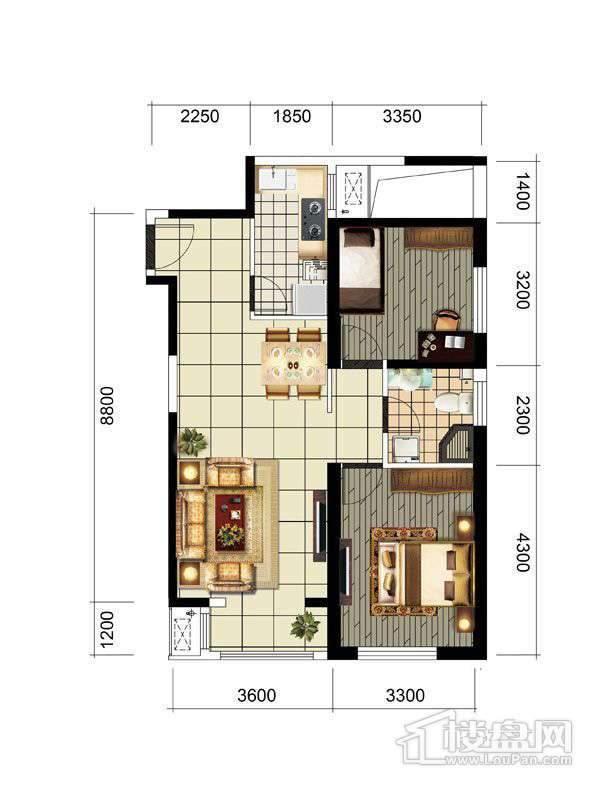 四期高层标准层两室户型图