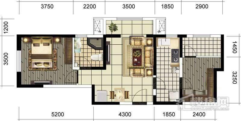 四期高层标准层一室户型图
