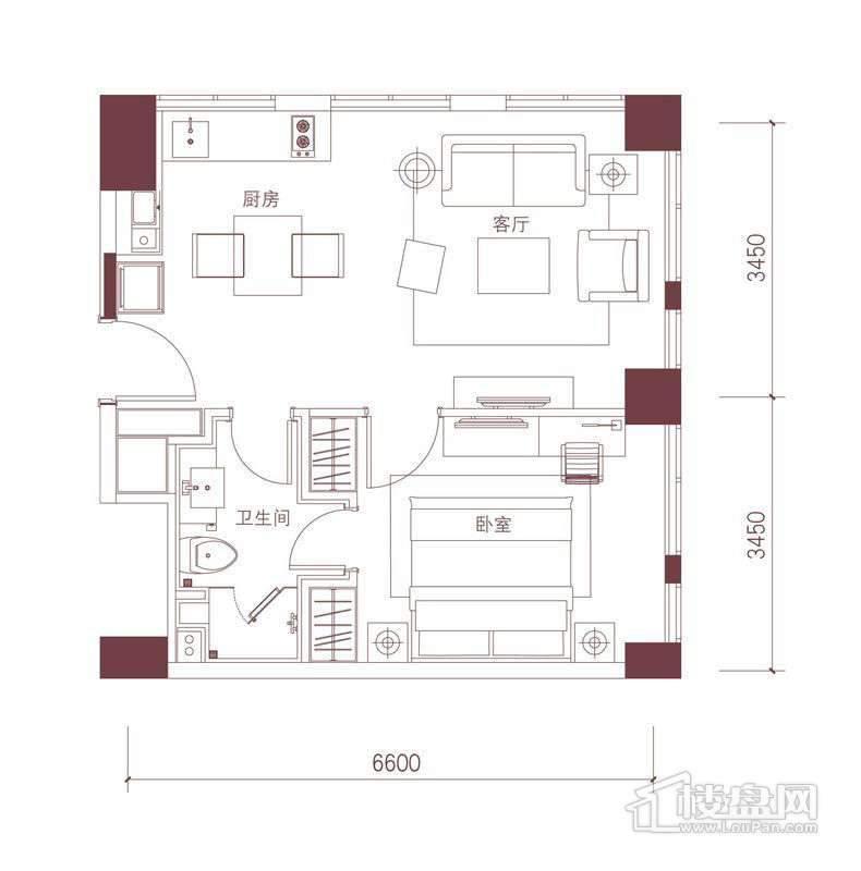 公寓标准层B1A户型