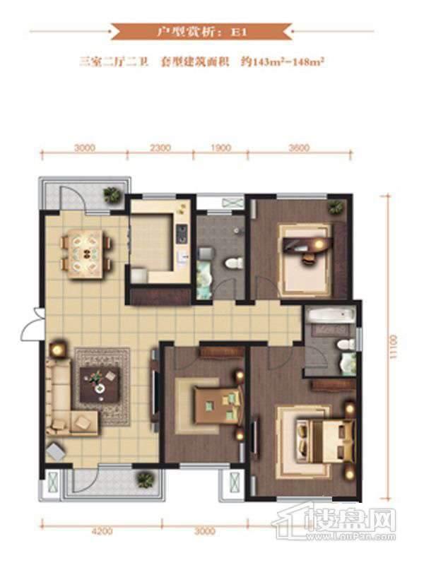 一期高层标准层E1户型3室2厅2卫1厨