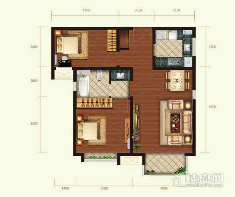 2号楼标准层B户型2室1厅1卫1厨