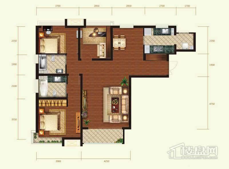2号楼标准层E户型3室2厅2卫1厨