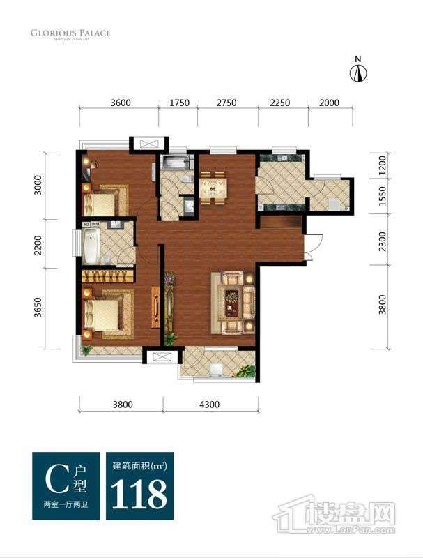 高层标准层C户型2室1厅2卫1厨