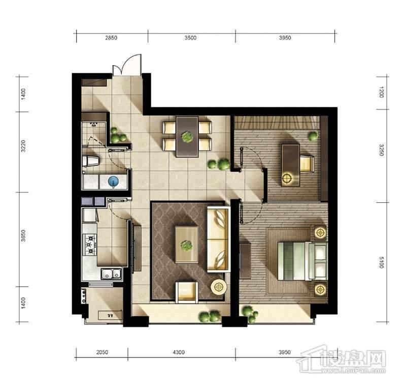 2期2、3#楼标准层01户型2室2厅1卫1厨