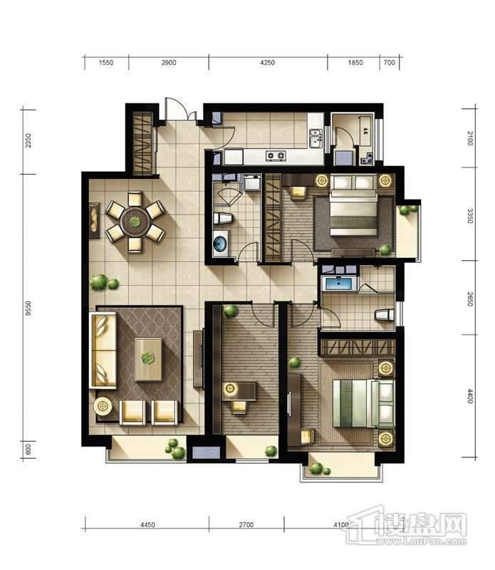 2期2、3#楼标准层02户型3室2厅2卫1厨