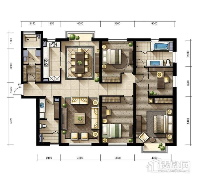 2期2、3#楼标准层03户型4室2厅2卫1厨
