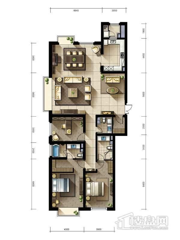 2期2、3#楼标准层04户型3室2厅3卫1厨