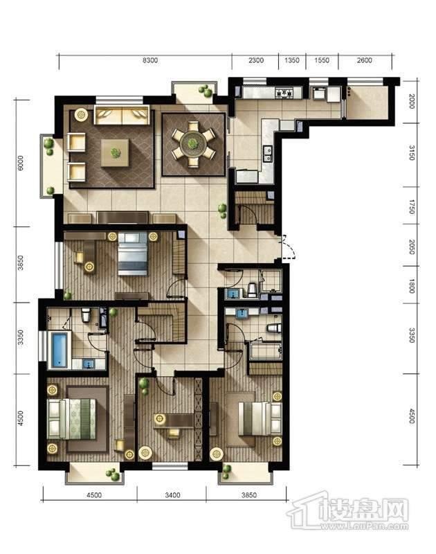 2期2、3#楼标准层05户型4室2厅3卫1厨