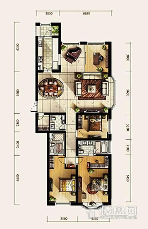 3、4号楼标准层D2户型4室2厅3卫