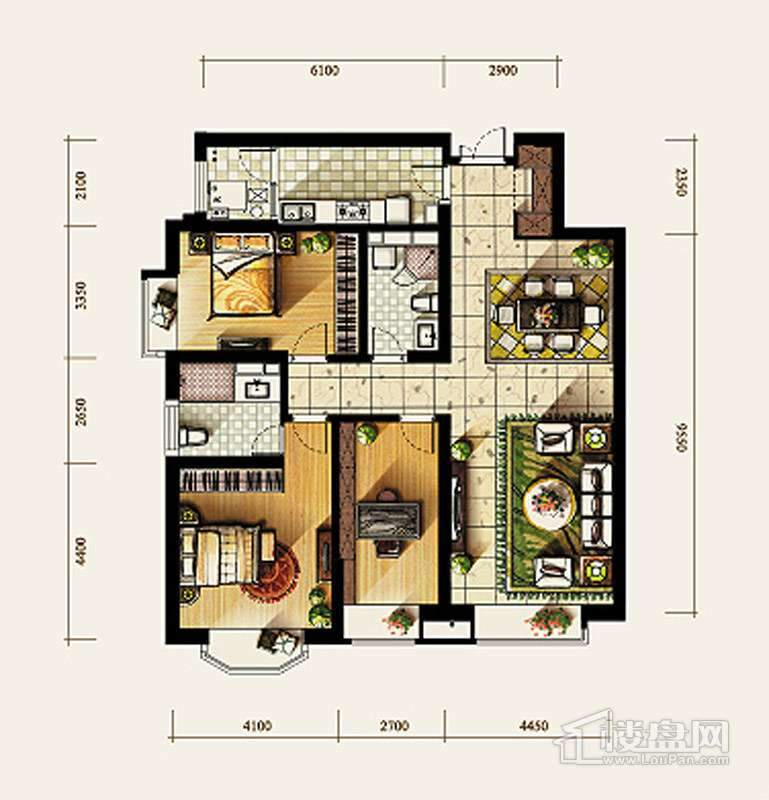 4号楼标准层C1户型3室2厅2卫