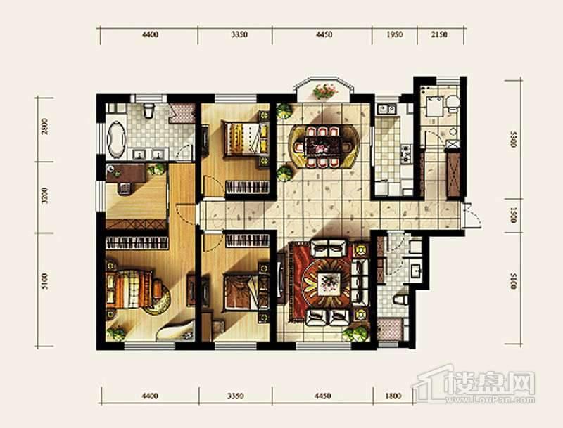 4号楼标准层D1户型4室2厅2卫
