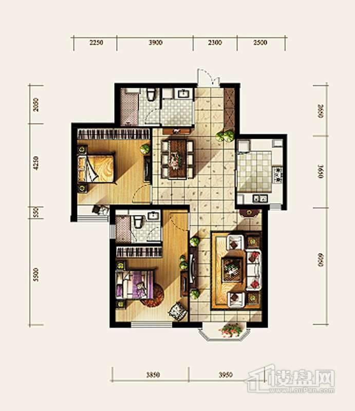 7、8号楼标准层B1户型2室2厅2卫