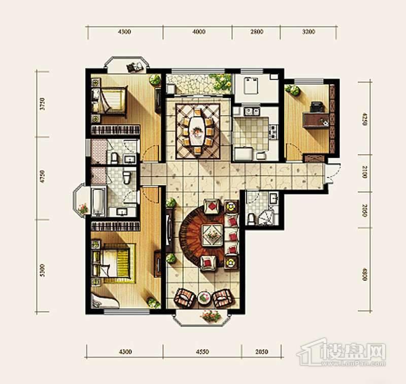 7、8号楼标准层C2户型3室2厅3卫