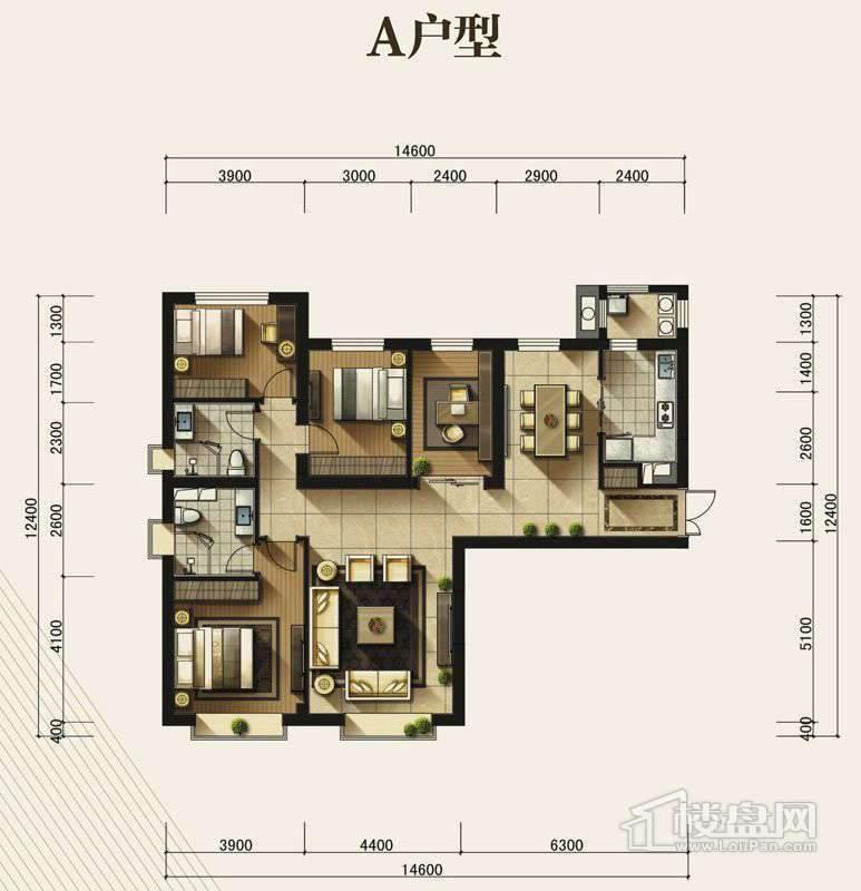 高层标准层A户型4室2厅2卫1厨