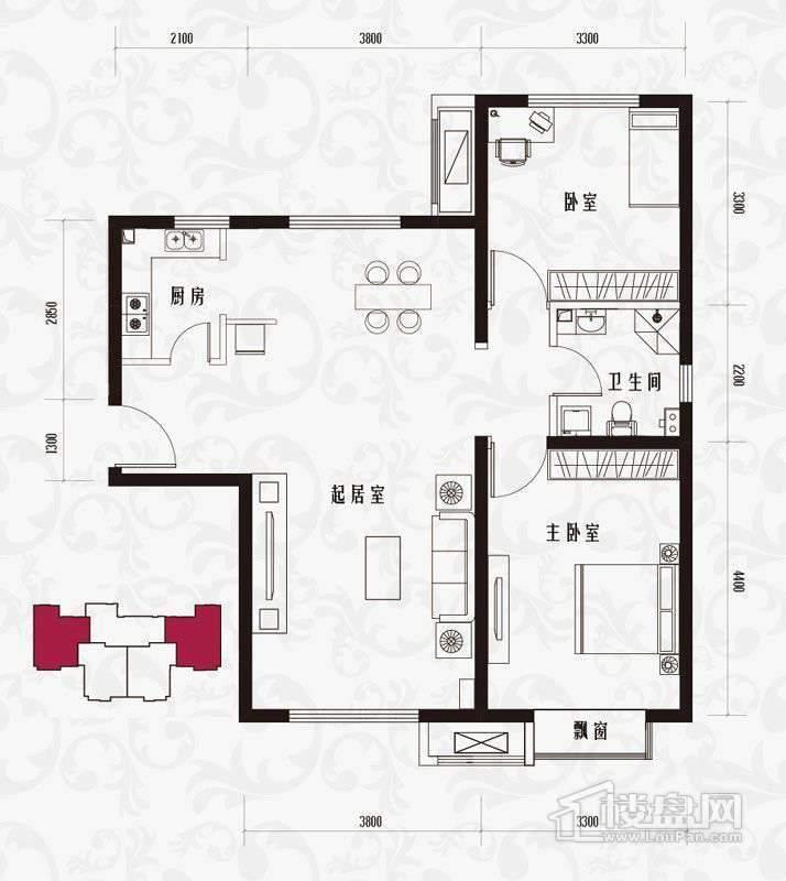 一期标准层H1户型2室1厅1卫1厨