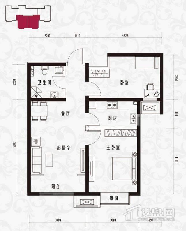 一期标准层H2户型2室1厅1卫1厨