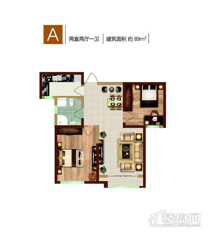 1、12号楼标准层A户型