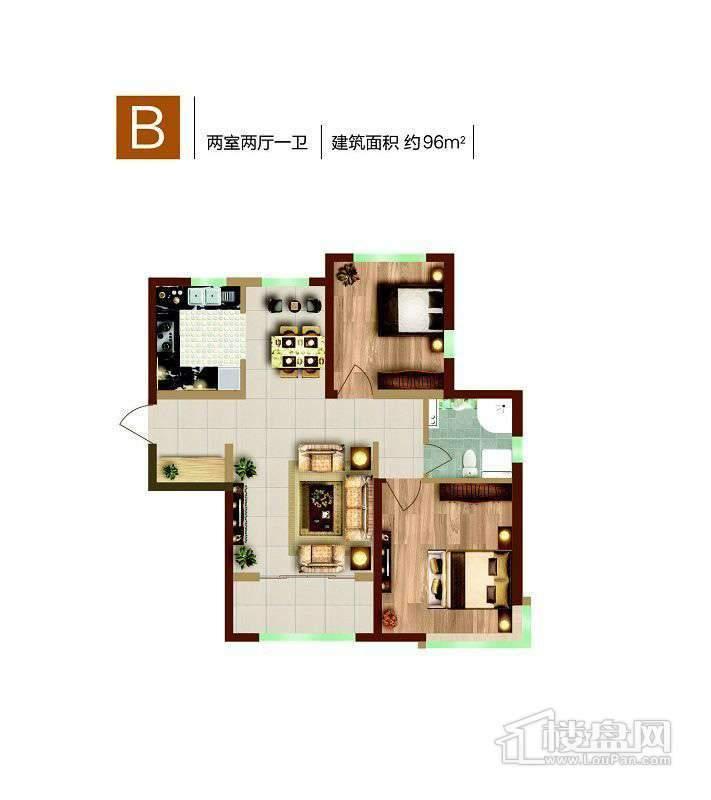 1、12号楼标准层B户型