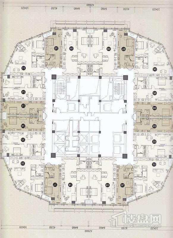 一期A座L13-27层平面图