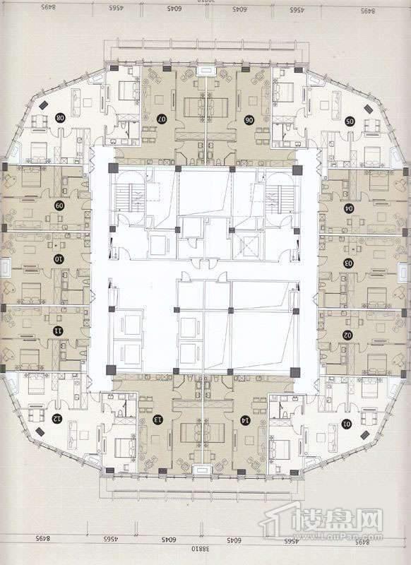 一期A座L29-43层平面图
