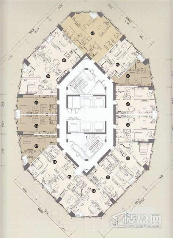 一期C座L6-13、15-29层平面图