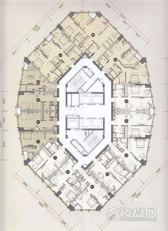 一期C座L31-45层平面图1室