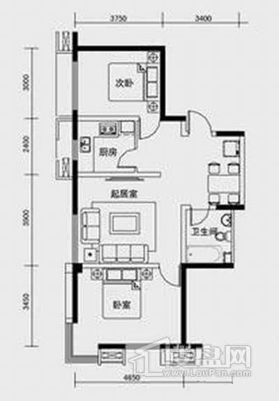 1、2、3号楼标准层C2户型2室2厅1卫