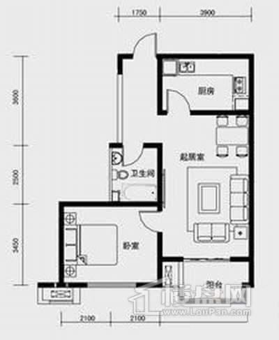 1、2、3号楼标准层C3户型1室1厅1卫