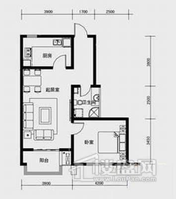 1、2、3号楼标准层C4户型1室2厅1卫