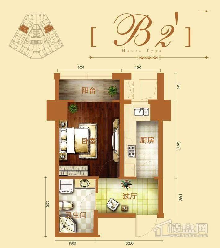 2号楼标准层b2户型1室1厅1卫1厨 41.62㎡