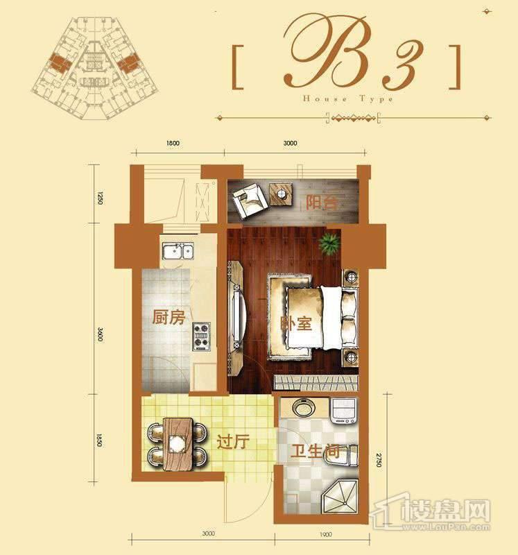 2号楼标准层b3户型1室1厅1卫1厨 42.34㎡