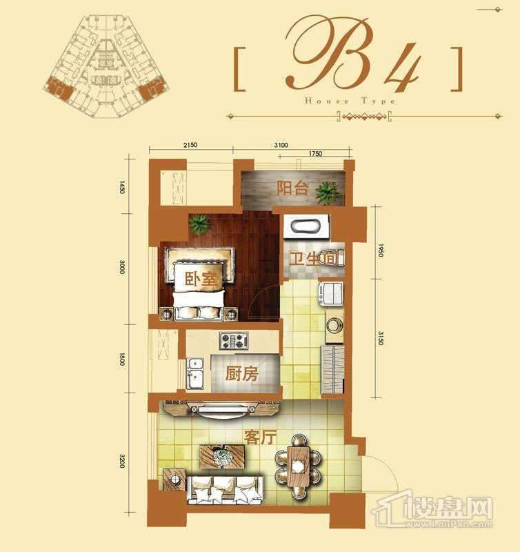 2号楼标准层b4户型1室1厅1卫1厨 61.38㎡