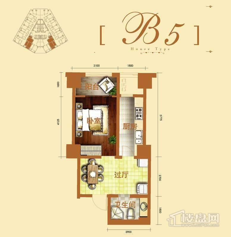 2号楼标准层b5户型1室1厅1卫1厨 57.65㎡