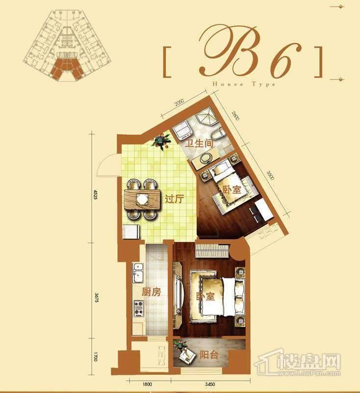 2号楼标准层b6户型2室1厅1卫1厨 76.73㎡