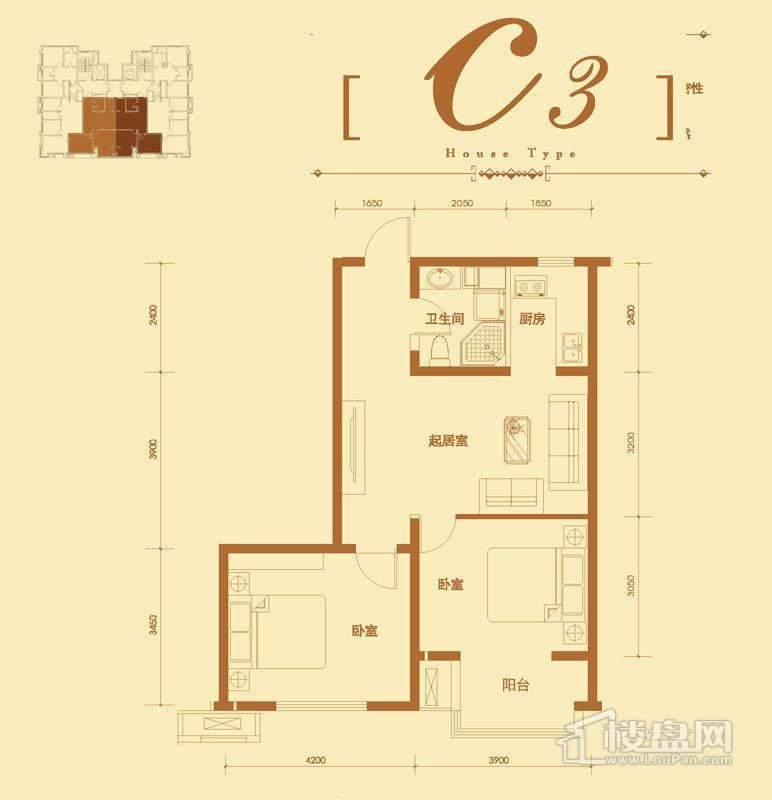 2号楼标准层C3户型2室2厅1卫1厨 87.66㎡