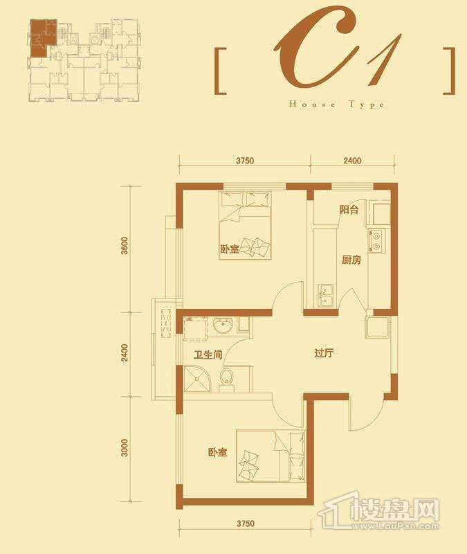 3号楼标准层c1户型2室1厅1卫1厨 64.74㎡