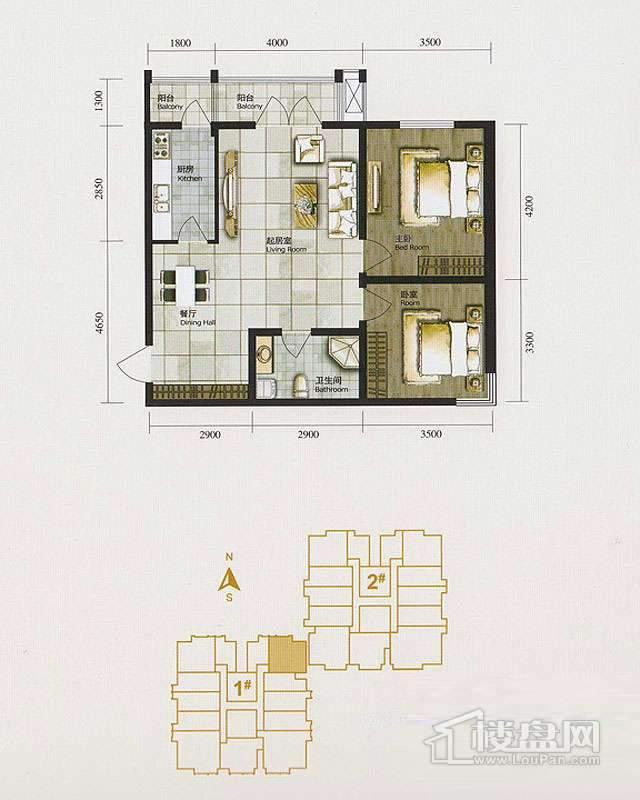 1、2、3号楼标准层C1户型2室2厅1卫1厨