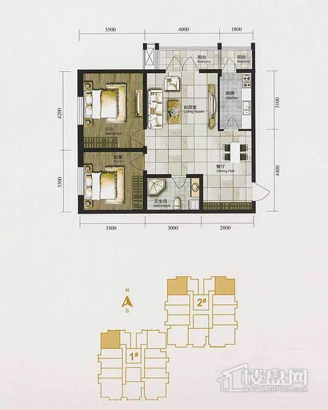1、2、3号楼标准层C户型2室2厅1卫1厨