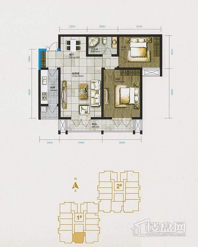 1、2、3号楼标准层D户型2室2厅1卫1厨