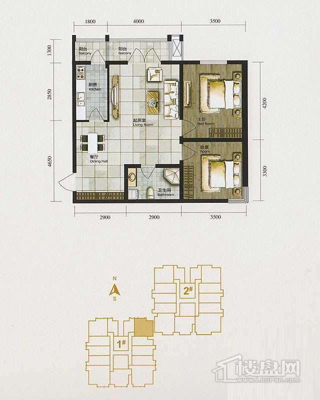 1、2、3号楼标准层E户型2室2厅1卫1厨