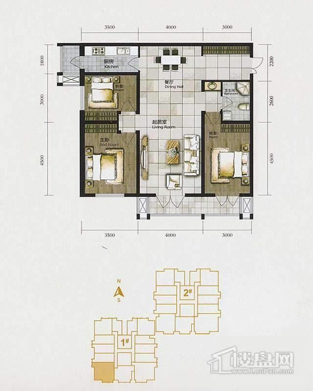 1、2、3号楼标准层F户型2室2厅1卫1厨