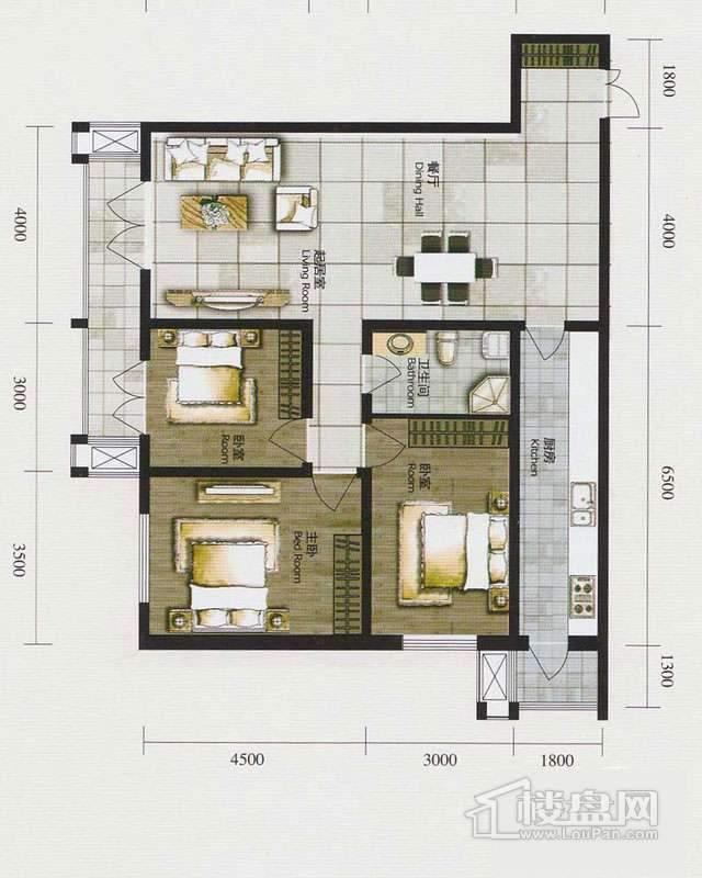 1、2号楼标准层G户型3室1厅1卫1厨 136.43㎡