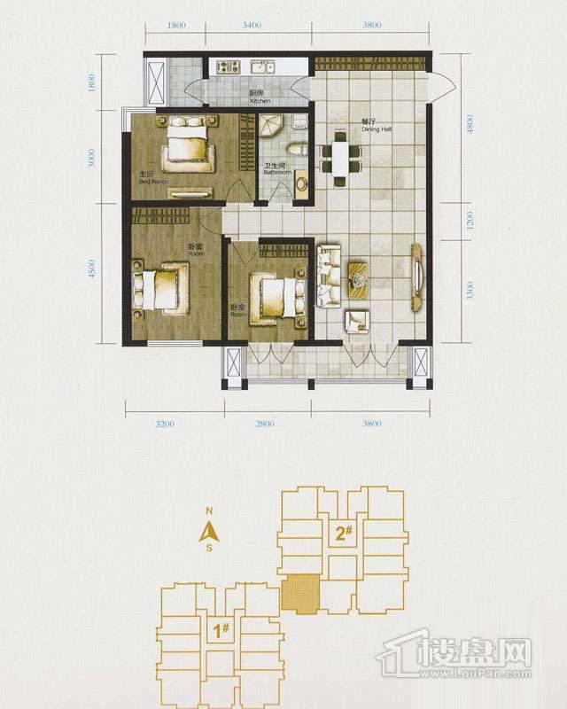 1、2号楼标准层H户型3室1厅1卫1厨 116.85㎡