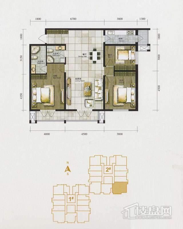 1、2号楼标准层I户型3室1厅2卫1厨 153.25㎡