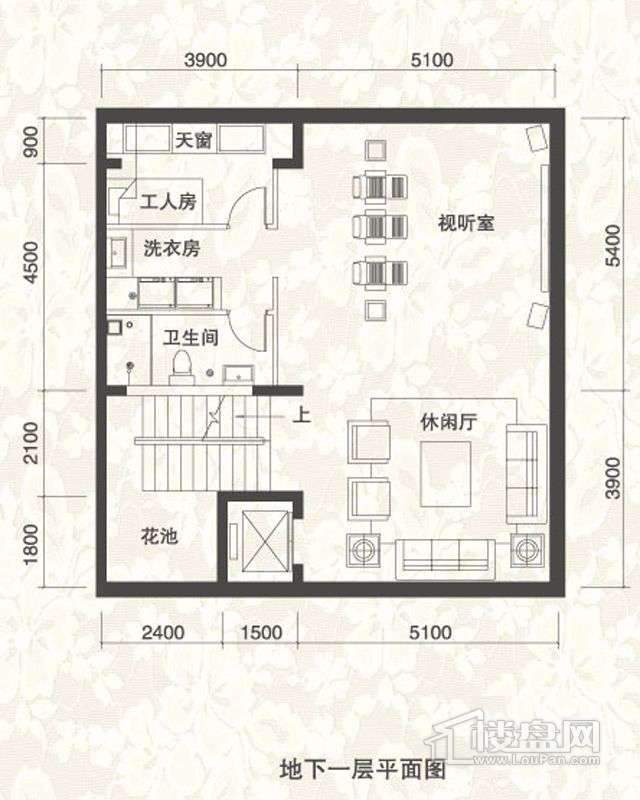 双拼别墅A1户型地下一层户型图